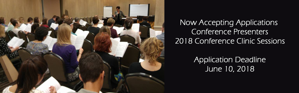 Now accepting applications for conference clinic session presenters. Deadline is June 10, 2018.